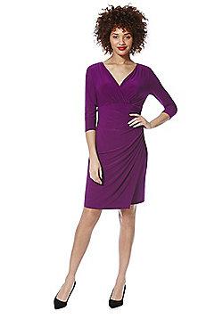 Roman Originals Jersey Wrap Front Dress - Purple