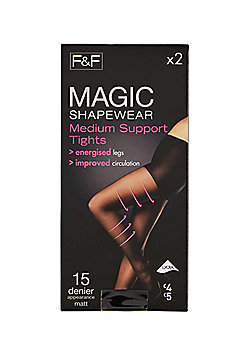 F&F 2 Pack of Medium Support 15 Denier Shaper Tights with Lycra® - Black