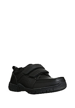 """F&F Double Riptape Airtred""""™ Sole School Shoes - Black"""