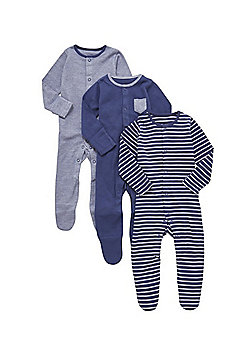 F&F 3 Pack of Striped and Plain Sleepsuits - Navy