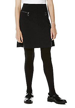 F&F School Adjustable Waist A-Line Skirt - Black