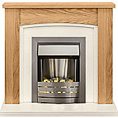 Adam Chilton Fireplace Suite in Oak with Helios Electric Fire in Brushed Steel
