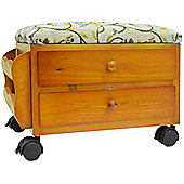 Atessa - Padded Footstool With Drawers And Tidy Rack - Pine