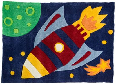 Rocket Outer Space Rug 110 x 160 cm