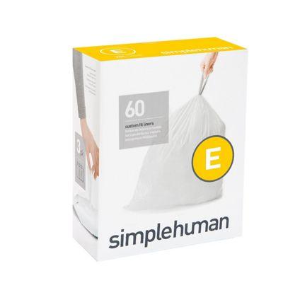 Simplehuman Code E Plastic Custom Fit Bin Liner, Pack of 60, White