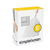 Simplehuman Code E Plastic Custom Fit Bin Liner, Pack of 60, White