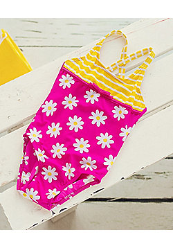Big Fisch Baby Girls Daisy Swimsuit - Pink & Yellow
