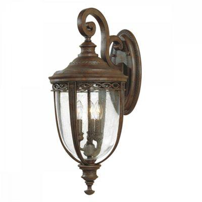 British Bronze 3lt Large Wall Lantern - 3 x 60W E14