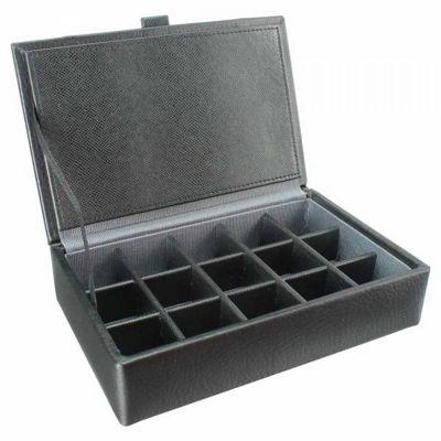 Dulwich Designs 15 Piece Cufflink Box Grey