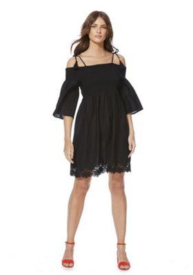 F&F Shirred Crochet Hem Summer Dress Black 16