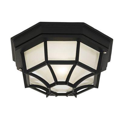 Parkway Flush 60W Ceiling Light Matte Black Paint Outdoor Light Decor