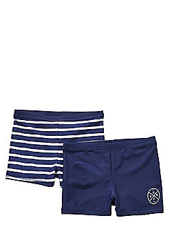 F&F 2 Pack of Plain and Striped Swimming Trunks - Navy