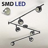 Retro Six Way Adjustable LED Ceiling Spotlight, Black Chrome