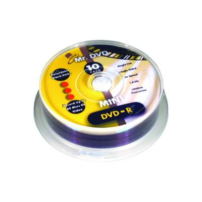 TDK 8cm DVD-R Storage Media Cakebox Spindle (10 Pack, 1.2GB, Speed 2x)