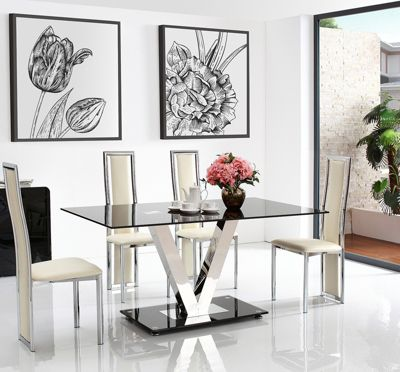 Vidal Black Glass 160 cm Dining Table with 4 Ivory Elsa Chairs