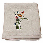 Homescapes Egyptian Cotton Embroidered Butterfly White Face Cloth