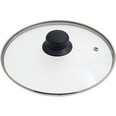 Ibili Stainless Steel Vented Silver & Black Glass Saucepan Cover Lid 18cm