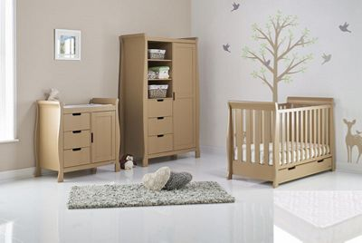 Obaby Stamford Mini Cot Bed 5 Piece Nursery Room Set/Sprung Mattress/Quilt and Bumper Set - Iced Coffee