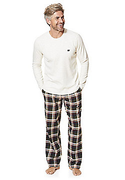 F&F Waffle and Flannel Lounge Set - Cream