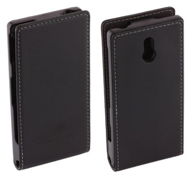 Sony Original Leather Flip Case for Xperia U - Black
