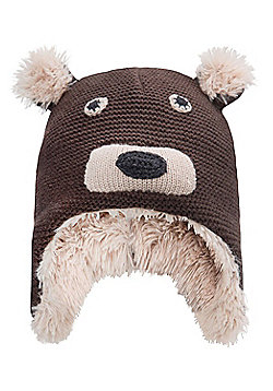Mountain Warehouse Knitted Junior Bear Hat - Brown