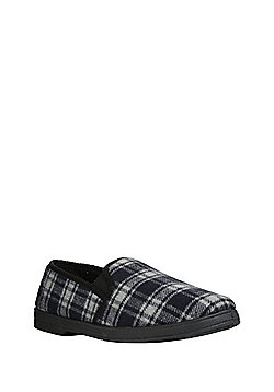 "F&F Checked Closed Back Slippers with Thinsulate""™ - Navy"
