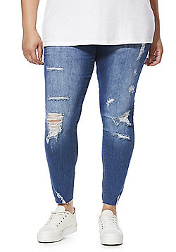 Simply Be Chloe Distressed Plus Size Skinny Jeans - Blue