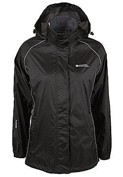 Pakka Womens Taped Seams Waterproof Jacket Fold Pack Away Hiking Rain Coat + Bag - Black