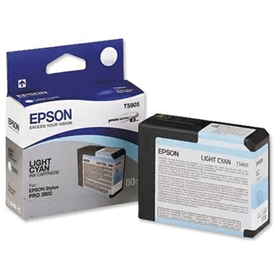 Epson UltraChrome Light-Cyan Ink Cartridge (80ml) - Stylus Pro 3800