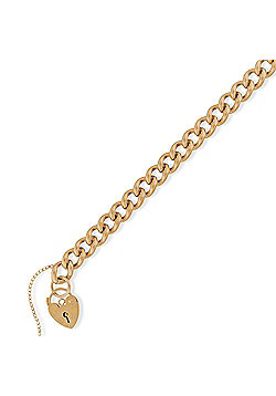 """Jewelco London 9ct Rose Gold - Curb Link Charm Bracelet with Padlock - 7.5""""/19cm"""