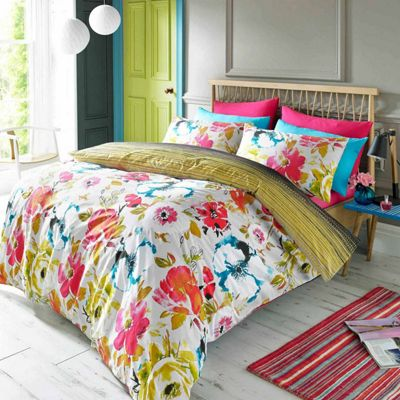 Blueprint 'Zaire' Bright Floral and Stripe Quilt Cover Set, Single