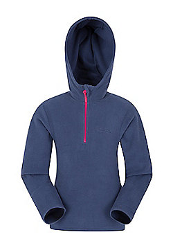 Mountain Warehouse Camber Kids Microfleece Hoodie Boys Girls Hooded Top Childs - Navy