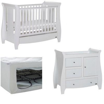 Tutti Bambini Katie 3 Piece Nursery Room Set with Sprung Mattress - White