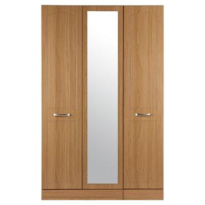 Tenby Triple Wardrobe With Mirror, Oak Effect