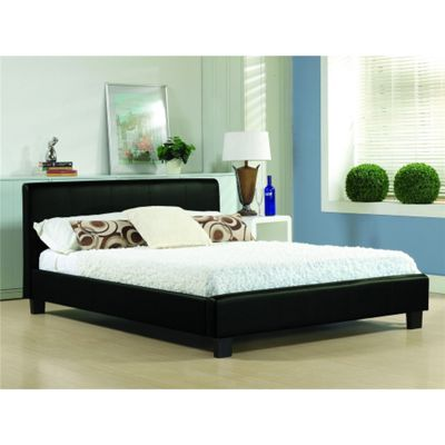 Black Real Leather Low End Bed Frame - Double 4ft 6