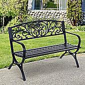 Outsunny Steel Garden Bench Porch Chair Outdoor Patio Park Loveseat - Black