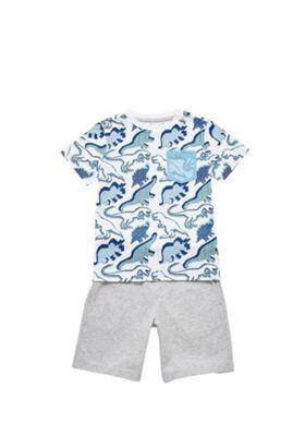 F&F Dinosaur T-Shirt and Shorts Set Blue/Grey 12-18 months