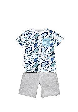 F&F Dinosaur T-Shirt and Shorts Set - Blue/Grey