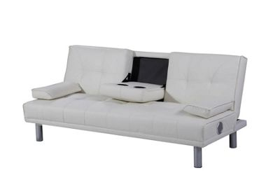 Manhattan White Faux Leather 3 Seater Sofa Bed With Bluetooth Speakers
