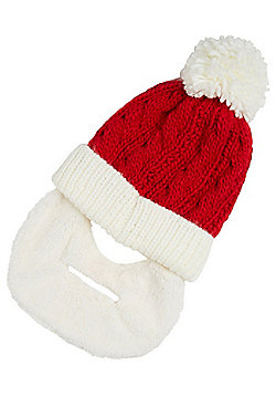 F&F Hat with a Heart Santa Claus Beard Bobble Hat - Red & White