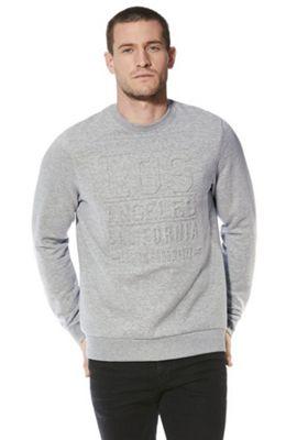 F&F Embossed Slogan Sweatshirt S Grey