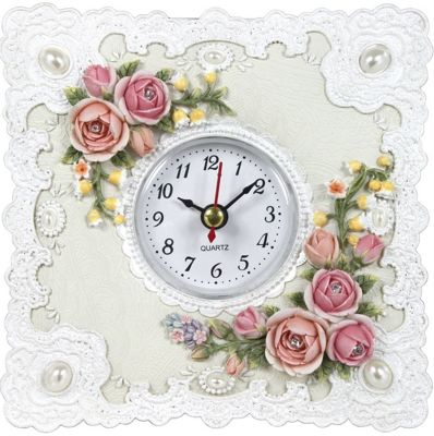 Roses And Lace Table Clock Pink And White