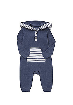 F&F Striped Detail Hooded All in One - Navy marl