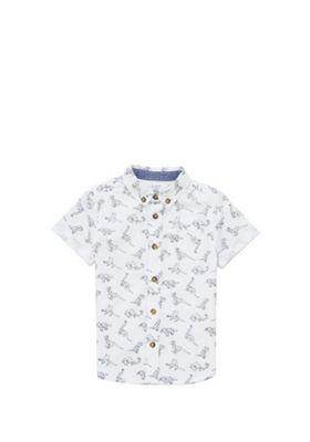 F&F Geometric Dinosaur Print Shirt White/Blue 12-18 months