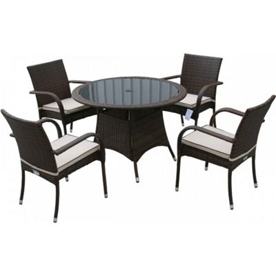 Roma 4 Chairs And Small Round Table Set in Chocolate Mix and Coffee Cream