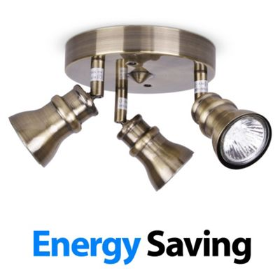 Round Three Way Energy Saving GU10 Ceiling Spotlight, Antique Brass