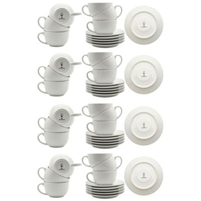 White Cappuccino Large Coffee Cup / Saucer Set - 320ml (11oz) - Set of 24