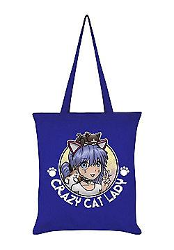 Crazy Cat Lady Tote Bag 38x42cm Royal Blue