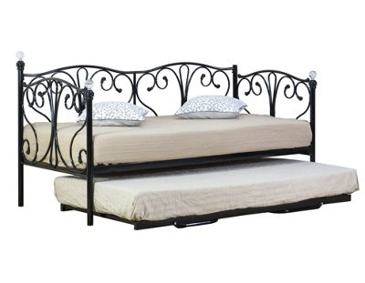 Comfy Living 3ft Single Crystal Day Bed & Trundle in Black with Damask Sprung Mattress