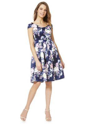 Mela London Floral Printed Bardot Dress Blue 12